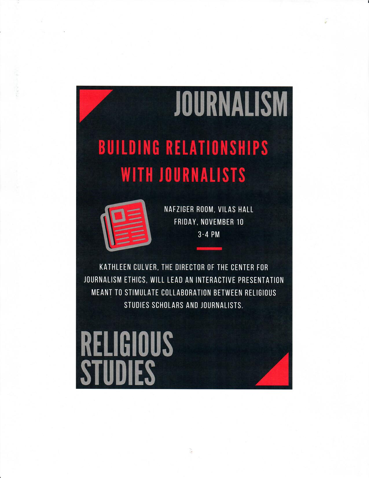 Building relationships with journalists flyer